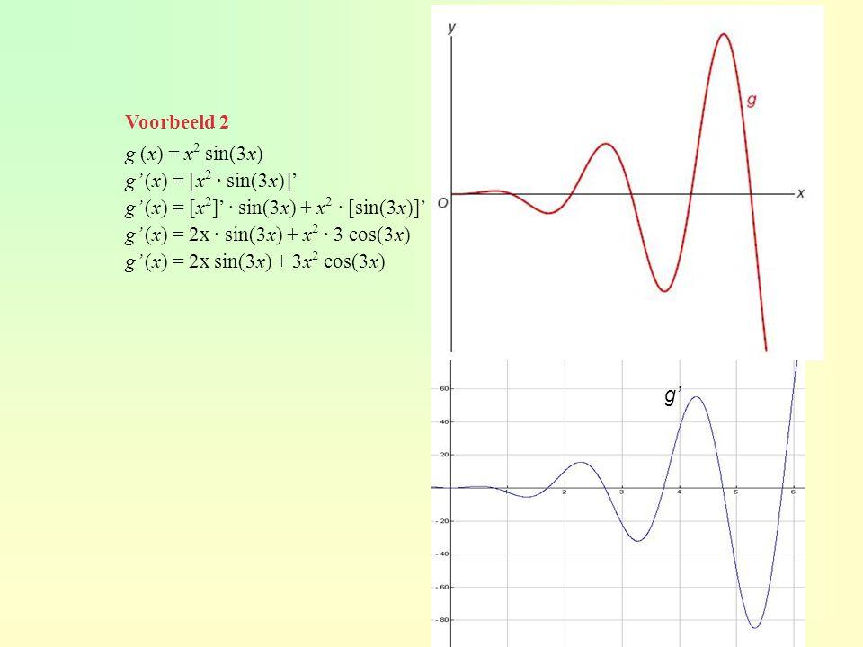 Voorbeeld 2 g (x) = x2 sin(3x) g' (x) = [x2 · sin(3x)]' g' (x) = [x2]' · sin(3x) + x2 · [sin(3x)]'